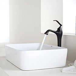 KRAUS Rectangular Ceramic Vessel Sink in White with Ventus Faucet in Oil Rubbed Bronze