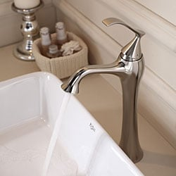 KRAUS Rectangular Ceramic Vessel Sink in White with Ventus Faucet in Brushed Nickel - Thumbnail 2