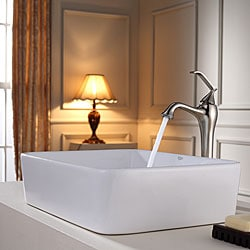 KRAUS Rectangular Ceramic Vessel Sink in White with Ventus Faucet in Brushed Nickel