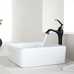 KRAUS Square Ceramic Vessel Sink in White with Ventus Faucet in Oil Rubbed Bronze