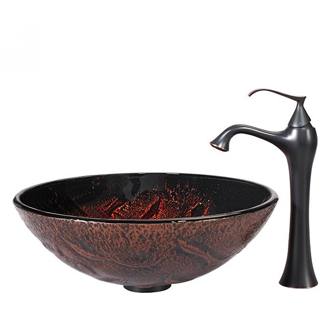 KRAUS Lava Glass Vessel Sink in Brown with Ventus Faucet in Oil Rubbed Bronze