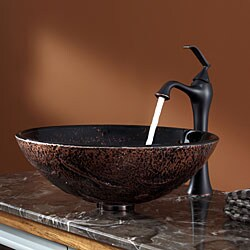 KRAUS Lava Glass Vessel Sink in Brown with Ventus Faucet in Oil Rubbed Bronze - Thumbnail 1