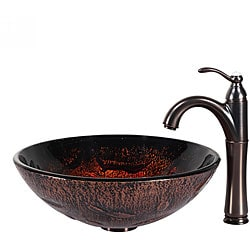 KRAUS Lava Glass Vessel Sink in Brown with Riviera Faucet in Oil Rubbed Bronze