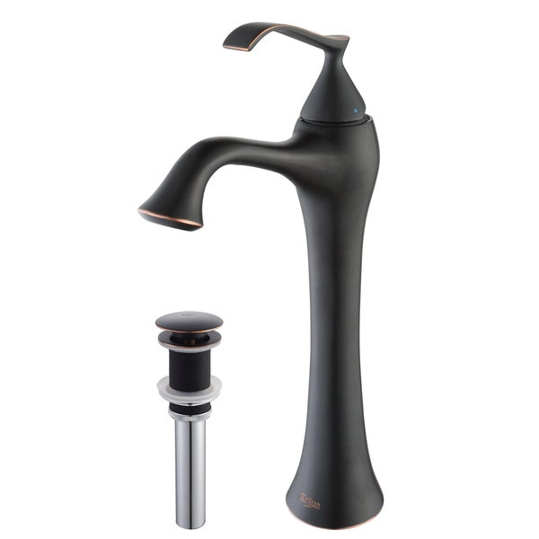 KRAUS Ventus Single Hole Single-Handle Vessel Bathroom Faucet with Matching Pop-Up Drain in Oil Rubbed Bronze