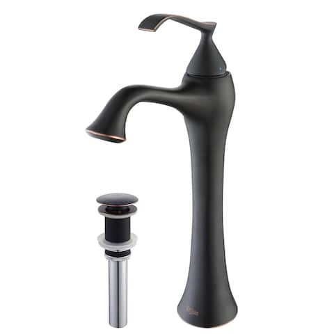 Kraus KEF-15000 Ventus Single Hole Single-Handle Bathroom Vessel Faucet with Pop-Up Drain in Oil Rubbed Bronze