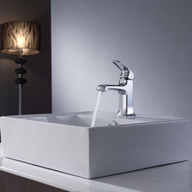 Kraus Bathroom Combo Set White Square Ceramic Sink/Faucet