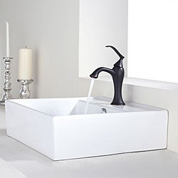 KRAUS Square Ceramic Vessel Sink in White with Ventus Basin Faucet in Oil Rubbed Bronze