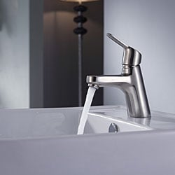Kraus Bathroom Combo Set White Square Ceramic Sink/Ferus Bas-inch Faucet