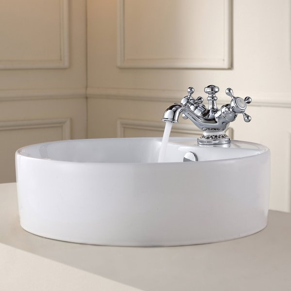 Kraus White Round Ceramic Sink and Apollo Basin Faucet Chrome