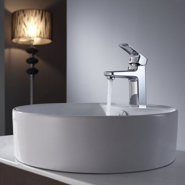 KRAUS Round Ceramic Vessel Sink in White with Virtus Basin Faucet in Chrome