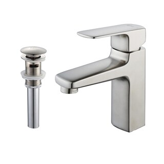 KRAUS Virtus Single Hole Single-Handle Vessel Bathroom Faucet with Matching Pop-Up Drain and Overflow in Brushed Nickel