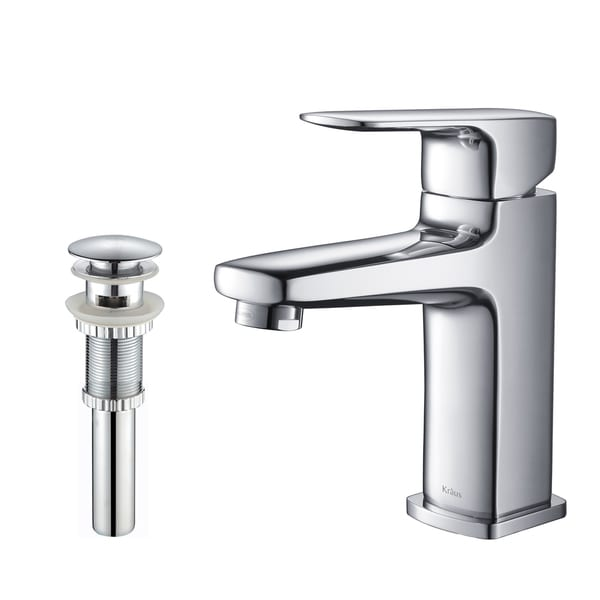 KRAUS Virtus Single Hole Single-Handle Vessel Bathroom Faucet with Matching Pop-Up Drain and Overflow in Chrome