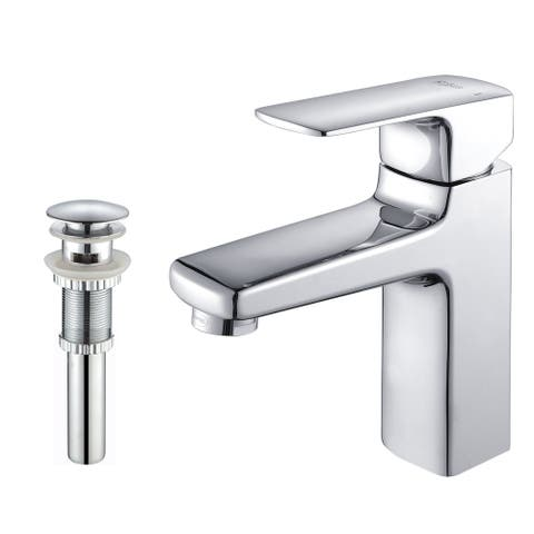 Kraus KEF-15501 Virtus Single Hole Single-Handle Bathroom Basin Faucet with Overflow Drain in Chrome