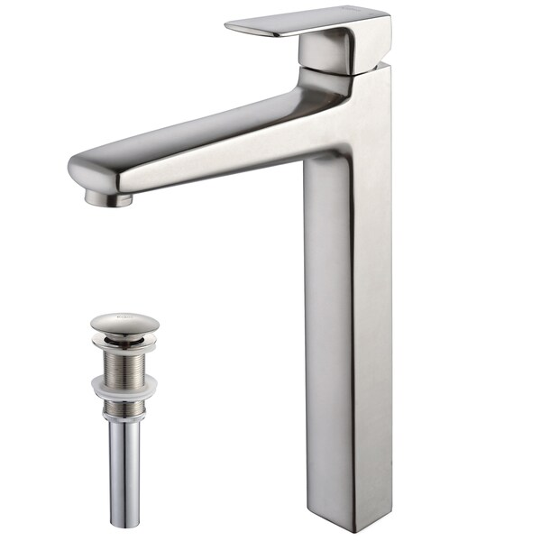 KRAUS Virtus Single Hole Single-Handle Vessel Bathroom Faucet with Matching Pop-Up Drain in Brushed Nickel