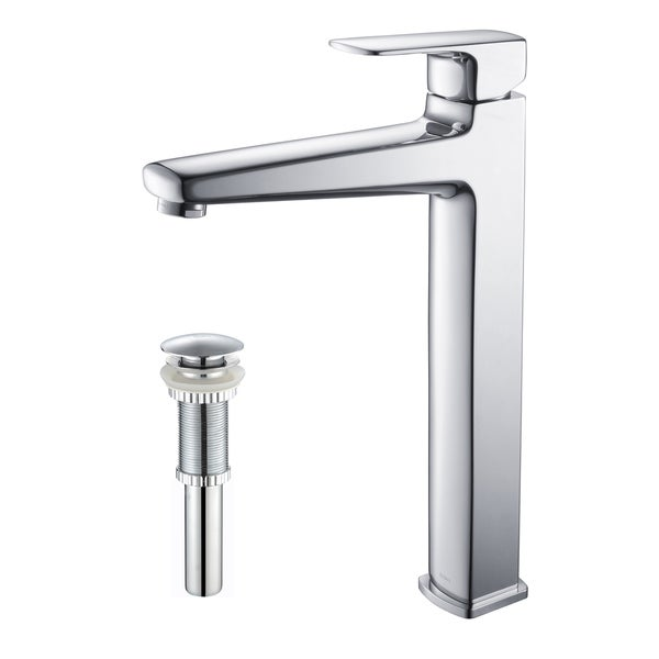 KRAUS Virtus Single Hole Single-Handle Vessel Bathroom Faucet with Matching Pop-Up Drain in Chrome