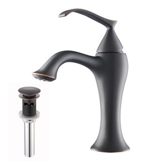 KRAUS Ventus Single Hole Single-Handle Bathroom Faucet with Matching Pop-Up Drain and Overflow in Oil Rubbed Bronze