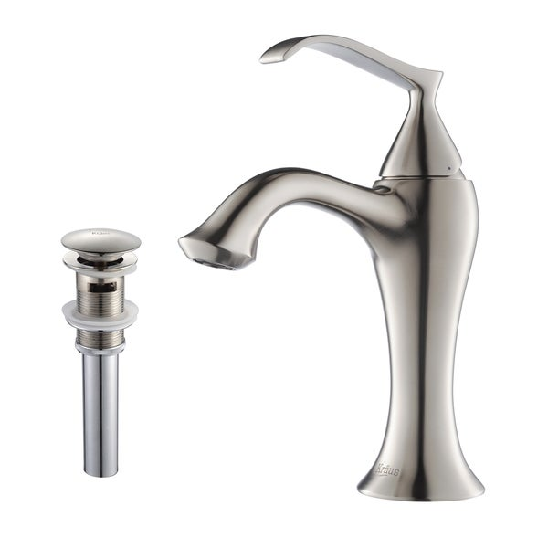 KRAUS Ventus Single Hole Single-Handle Bathroom Faucet with Matching Pop-Up Drain and Overflow in Brushed Nickel