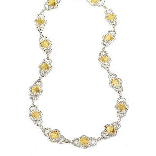 Collette Z Sterling Silver Two-Tone Cubic Zirconia Square Necklace