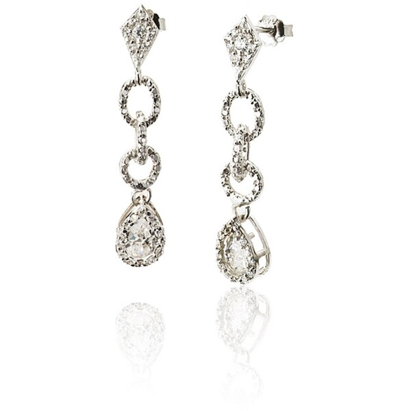 Collette Z Sterling Silver Cubic Zirconia Link Dangle Earrings