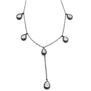 Collette Z Sterling Silver Cubic Zirconia Pear-cut Station Necklace