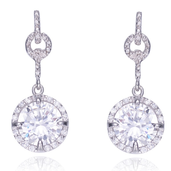 Collette Z Sterling-Silver and Round-Cut Cubic Zirconia Dangle Earrings with Butterfly Clasp