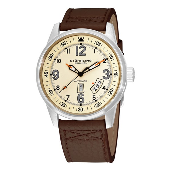 Brown Stuhrling Original Tuskegee Skymaster Men's Automatic Leather Strap Watch