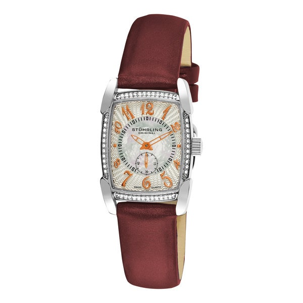 Stuhrling Original Women's Carnegie Rose Swiss Quartz Watch with Leather Strap