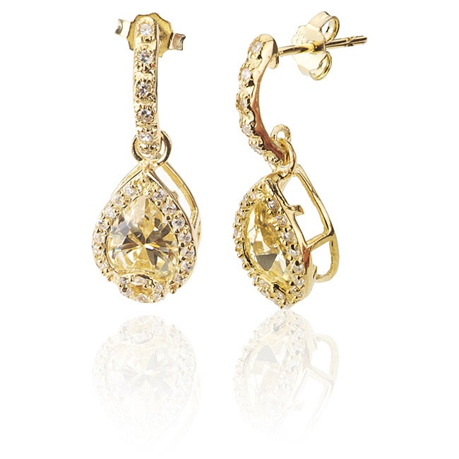 Collette Z Sterling Silver Yellow and White Cubic Zirconia Dangle Earrings