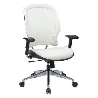 Office Star White Vinyl Managers Chair with Polished Aluminum Base