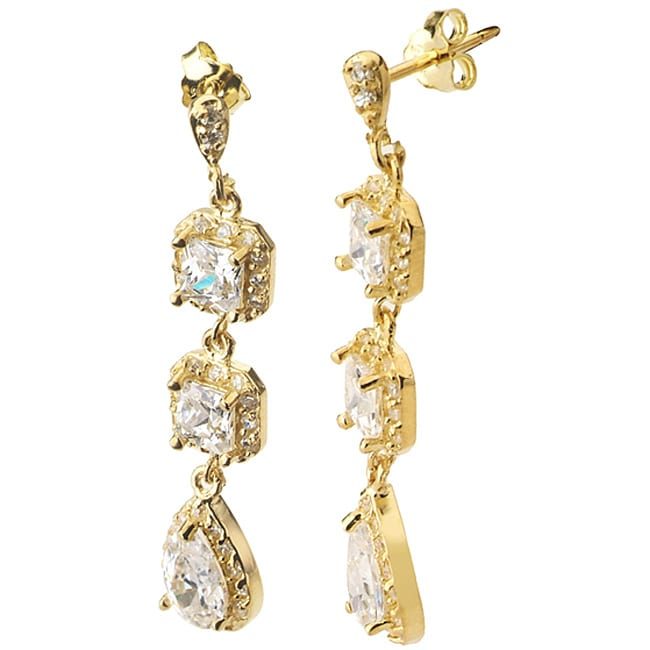 Collette Z Gold over Silver Clear Cubic Zirconia Dangle Earrings