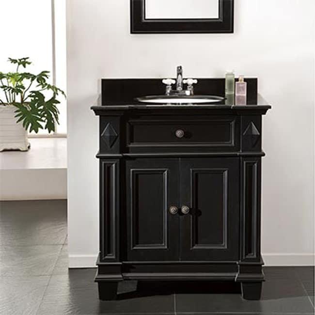 Vanity in Black Antique with Granite Vanity Top in Black - Shop OVE Decors Essex 31 In. Vanity In Black Antique With Granite