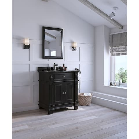 OVE Decors Essex 31 in. Vanity in Black Antique with Granite Vanity Top in Black
