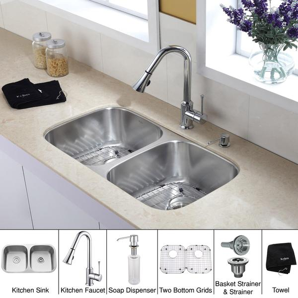 Kraus 32 inch Undermount Double Bowl Stainless Steel Kitchen Sink with Chrome Kitchen Faucet and Soa