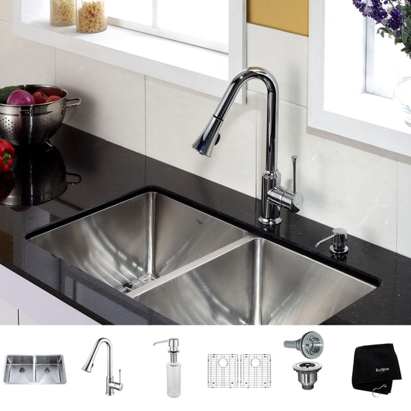 Kraus 33 inch Undermount Double Bowl Stainless Steel Kitchen Sink with Chrome Kitchen Faucet and Soap Dispenser