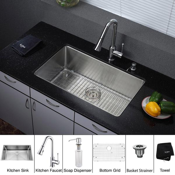 Kraus 32 inch Undermount Single Bowl Stainless Steel Kitchen Sink with Chrome Kitchen Faucet and Soap Dispenser