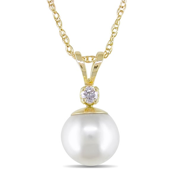 Miadora 14-kt. Diamond 7.5-8 mm Cultured Akoya Pearl Pendant