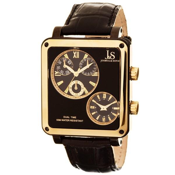 Joshua & Sons Men's Dual-time Multifunction Black Square Watch
