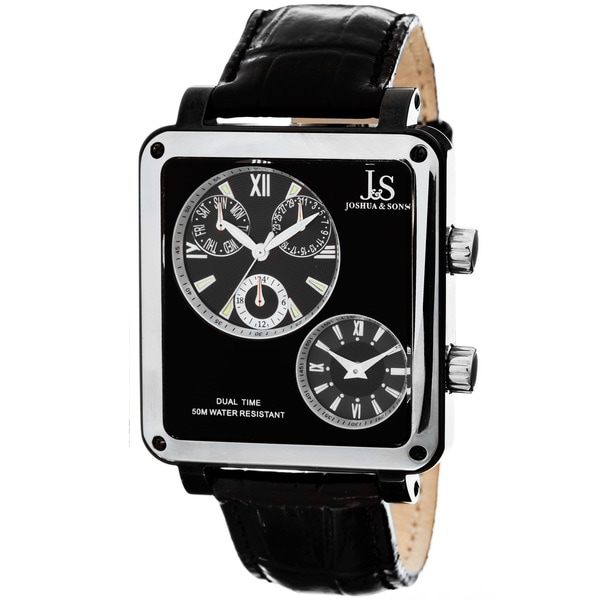 Joshua & Sons Men's Dual-time Black Square Watch