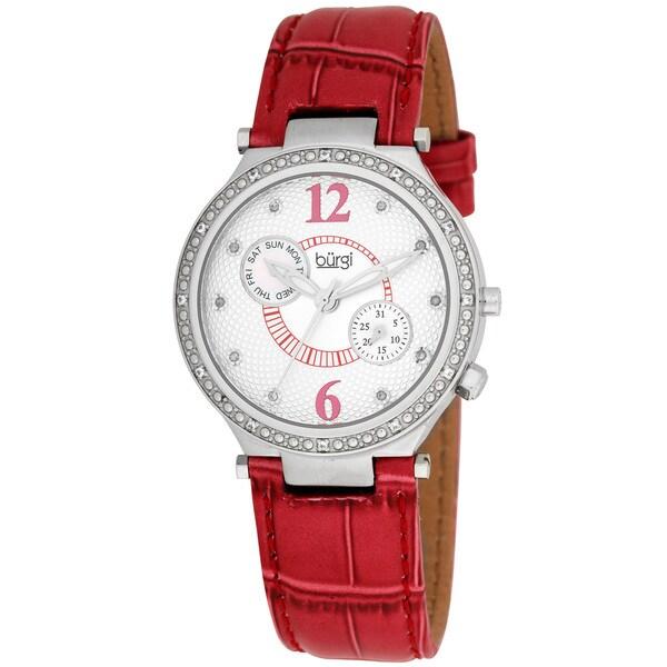 Burgi Women's Swiss Diamond Classic Stainless Steel Day/Date Red-Strap Watch