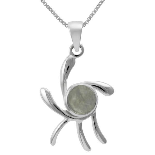 Sterling Silver Round Moonstone Necklace (Thailand)