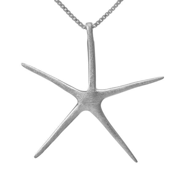 Handmade Sterling Silver Brushed Starfish Necklace (Thailand)