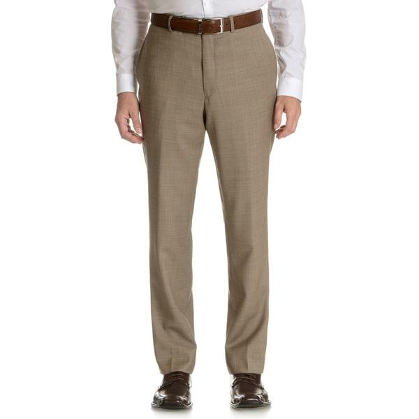 Tommy Hilfiger Men's Trim Fit Tan Sharkskin Wool Dress Pants ...