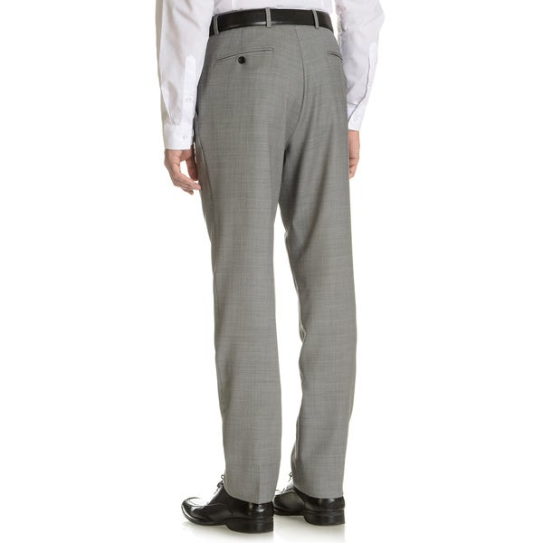 Tommy Hilfiger Men's Trim Fit Grey Sharkskin Wool Dress Pants ...