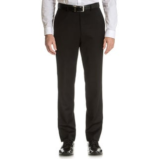 Tommy Hilfiger Men's Trim Fit Black Wool Dress Pants