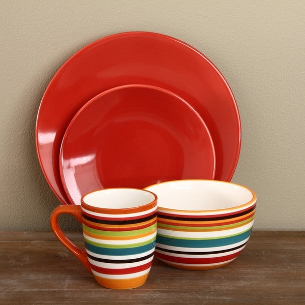 Omniware Rio Stripe and Red 16-piece Dinnerware Set