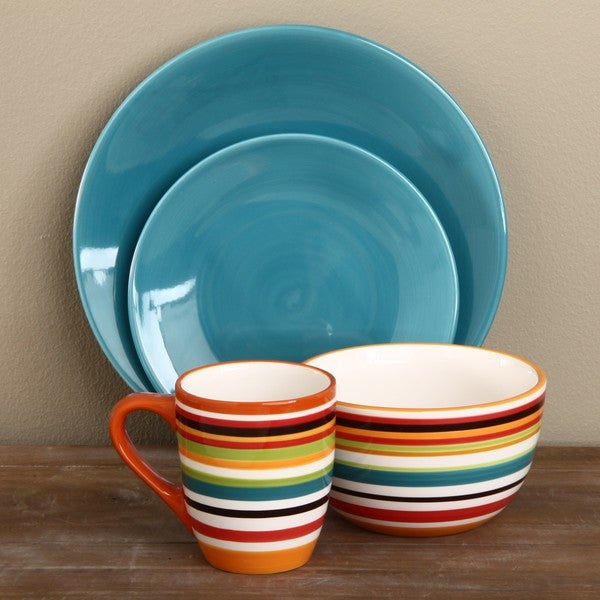 Omniware Rio Aqua/ Striped 16-piece Ceramic Dinnerware Set