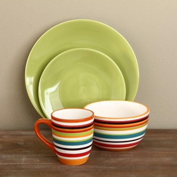 Omniware Rio Stripe and Citron 16-piece Dinnerware Set