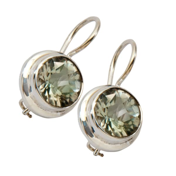 Green Amethyst Sterling Silver Earrings (India)
