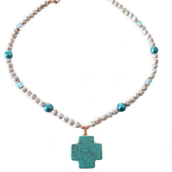 Every Morning Design Turquoise Magnesite Cross with Turquoise Pearls