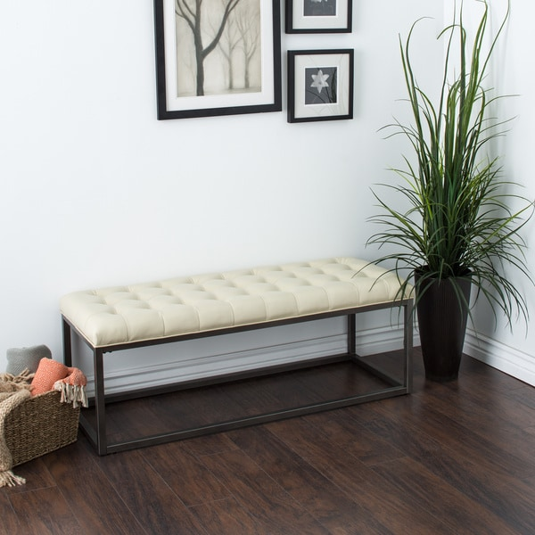 Healy Cream Bonded Leather Bench